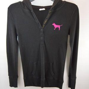 🔴 Love Pink Hooded Ribbed Shirt